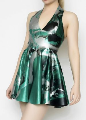 Yummy Gummy Latex Halter Circle Dress in Green marble