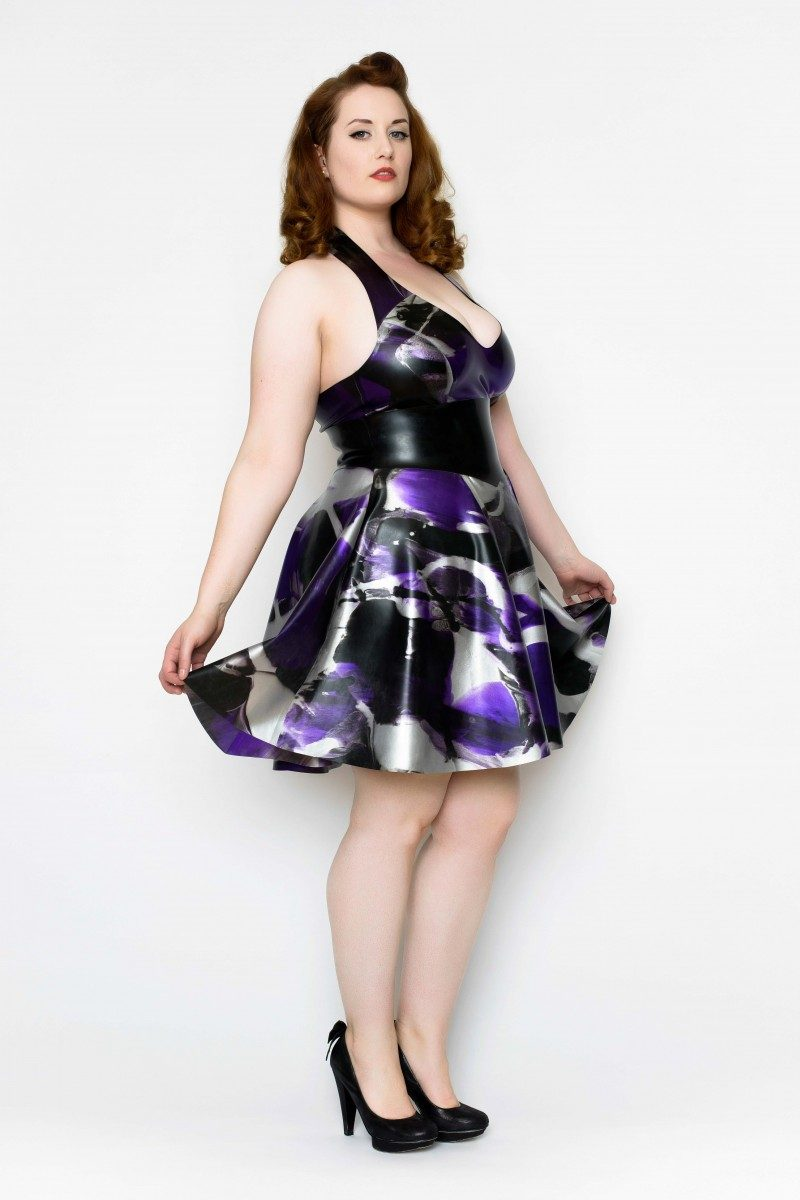 Yummy Gummy Latex Halter Skate dress and wide pointed belt in purple marble