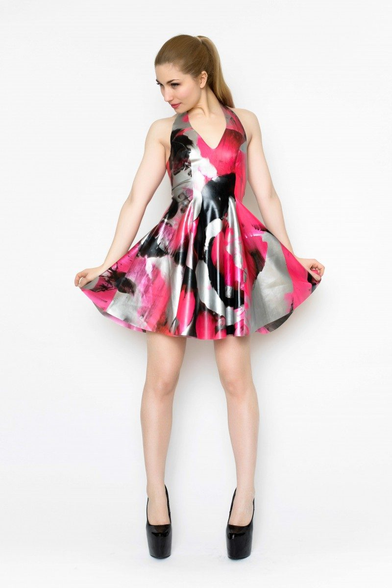 Yummy Gummy Latex Halter Skate dress in uv pink marble