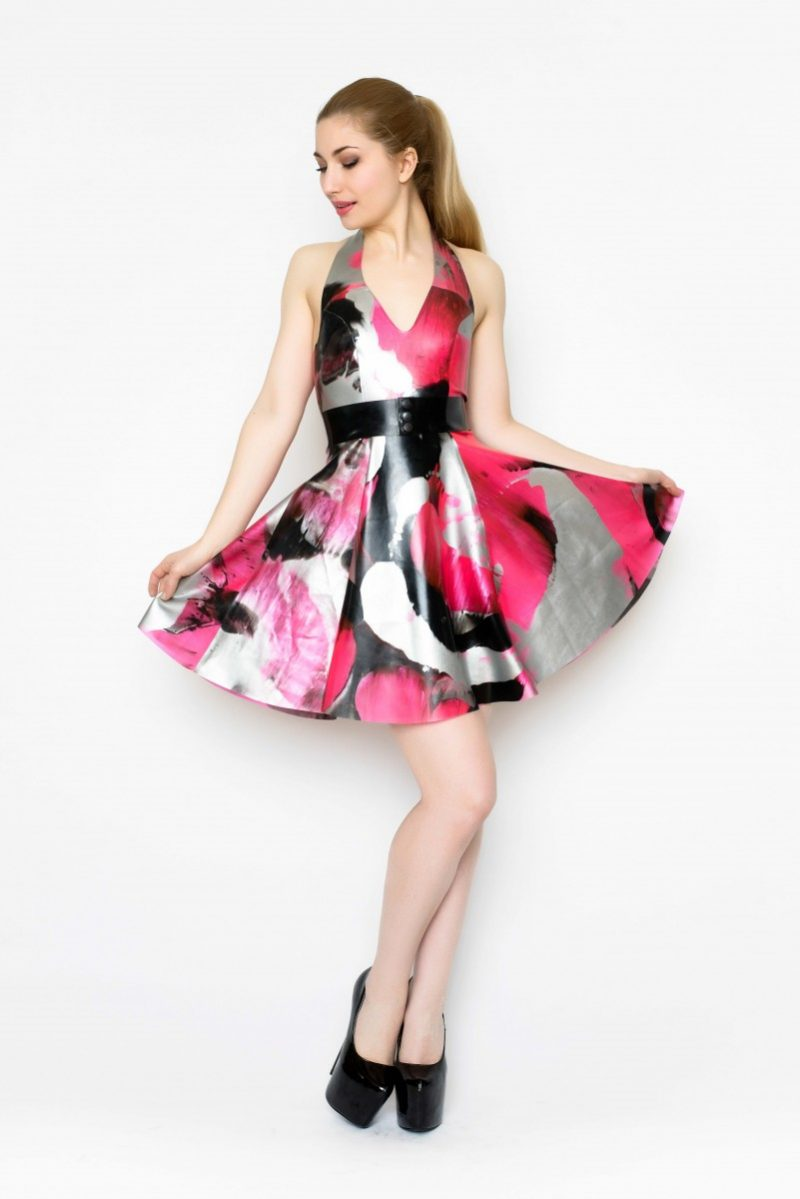 Yummy Gummy Latex Halter Skate dress and bow belt in uv pink marble