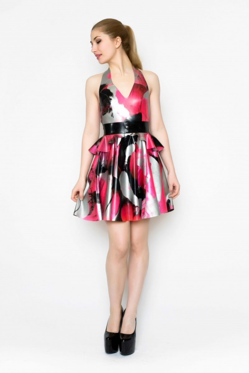 Yummy Gummy Latex Halter Skate dress and peplum belt in uv pink marble