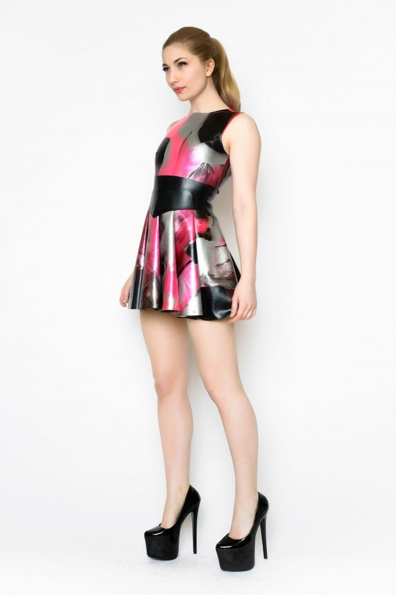 Yummy Gummy Latex heart back dress and wide pointed belt in uv pink marble