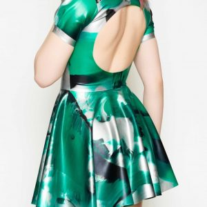 Yummy Gummy Latex, Short sleeve open back dress green marble
