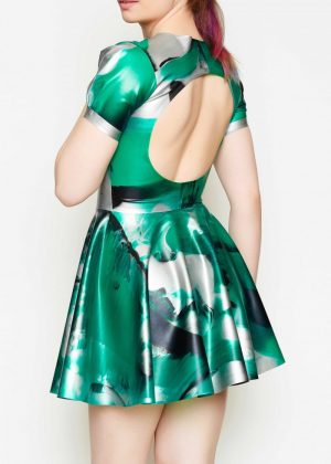 Yummy Gummy Latex, Short sleeve open back dress green marble