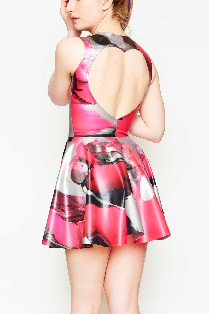Yummy Gummy Latex, Heart shaped open back dress uv pink marble