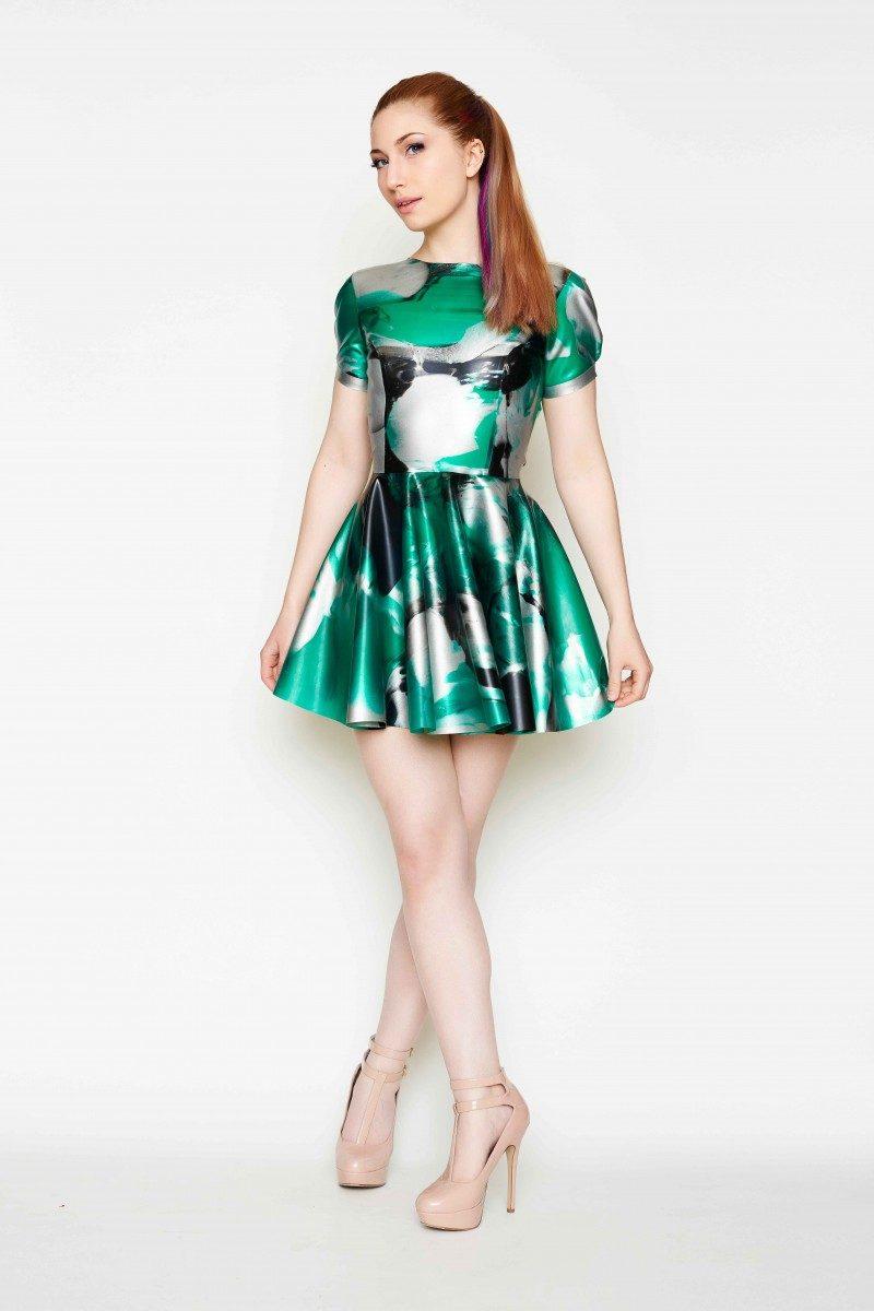 Yummy Gummy Latex Short sleeve open back dress green marble