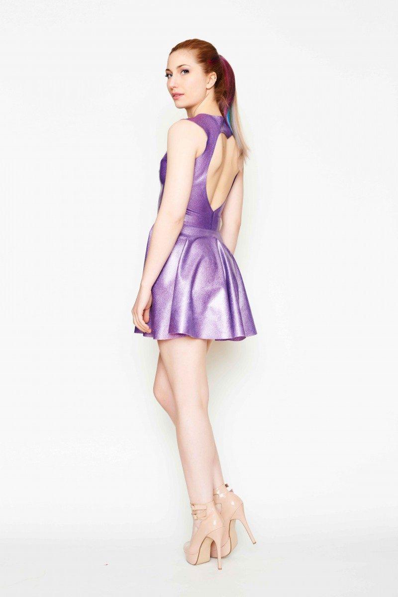 Yummy Gummy Latex, Heart shaped open back dress lilac glitter