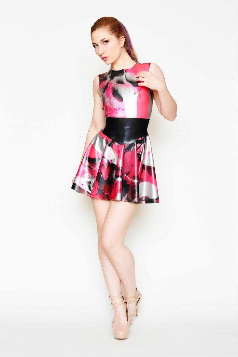 Yummy Gummy Latex, Heart shaped open back dress uv pink marble