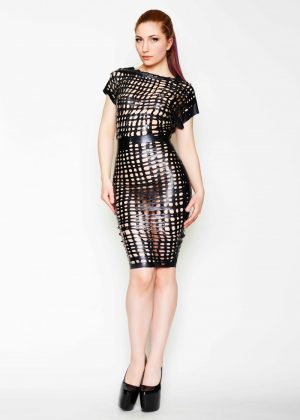 Yummy GummyLatex Net Latex relaxed pencil dress