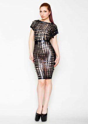 Yummy GummyLatex Net Latex relaxed pencil dress