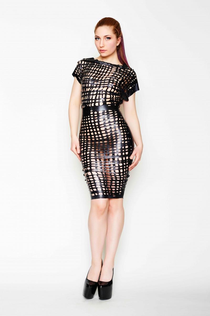 cea6f662c9 Yummy GummyLatex Net Latex relaxed pencil dress