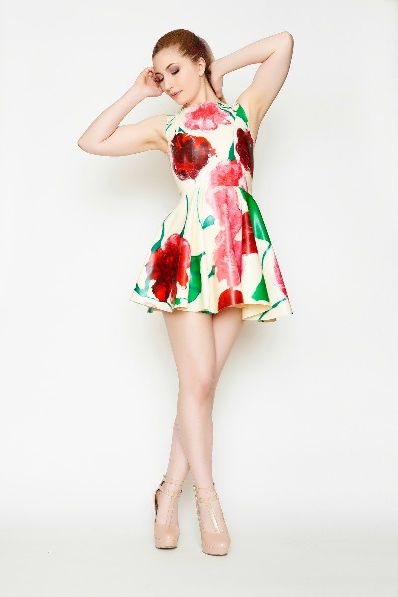 Yummy Gummy latex, Floral heart open back dress