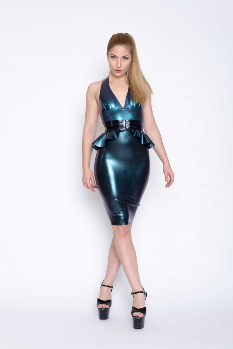 Yummy Gummy Latex pleated Halter top, peplum belt and deluxe pencil skirt in petrol
