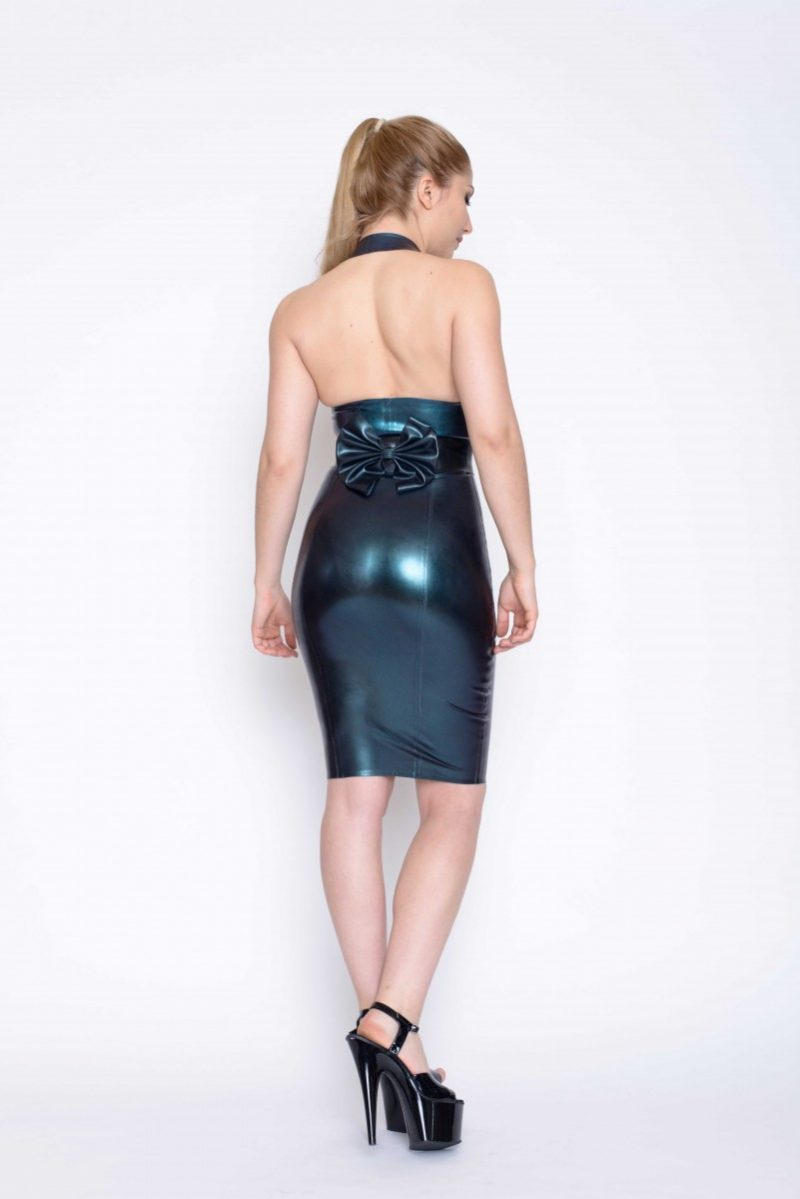 Yummy Gummy Latex pleated Halter top, bow belt and deluxe pencil skirt in petrol