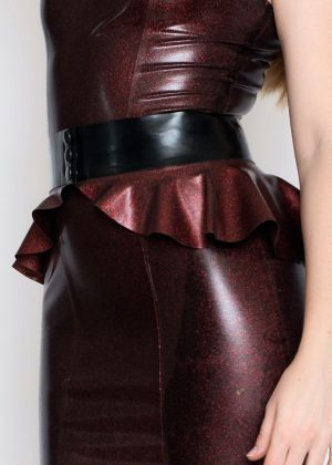 Yummy Red Obsidian Short dress and peplum belt