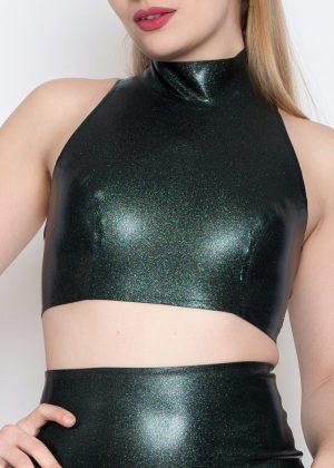 Yummy Gummy Iridescent Obsidian in High neck top