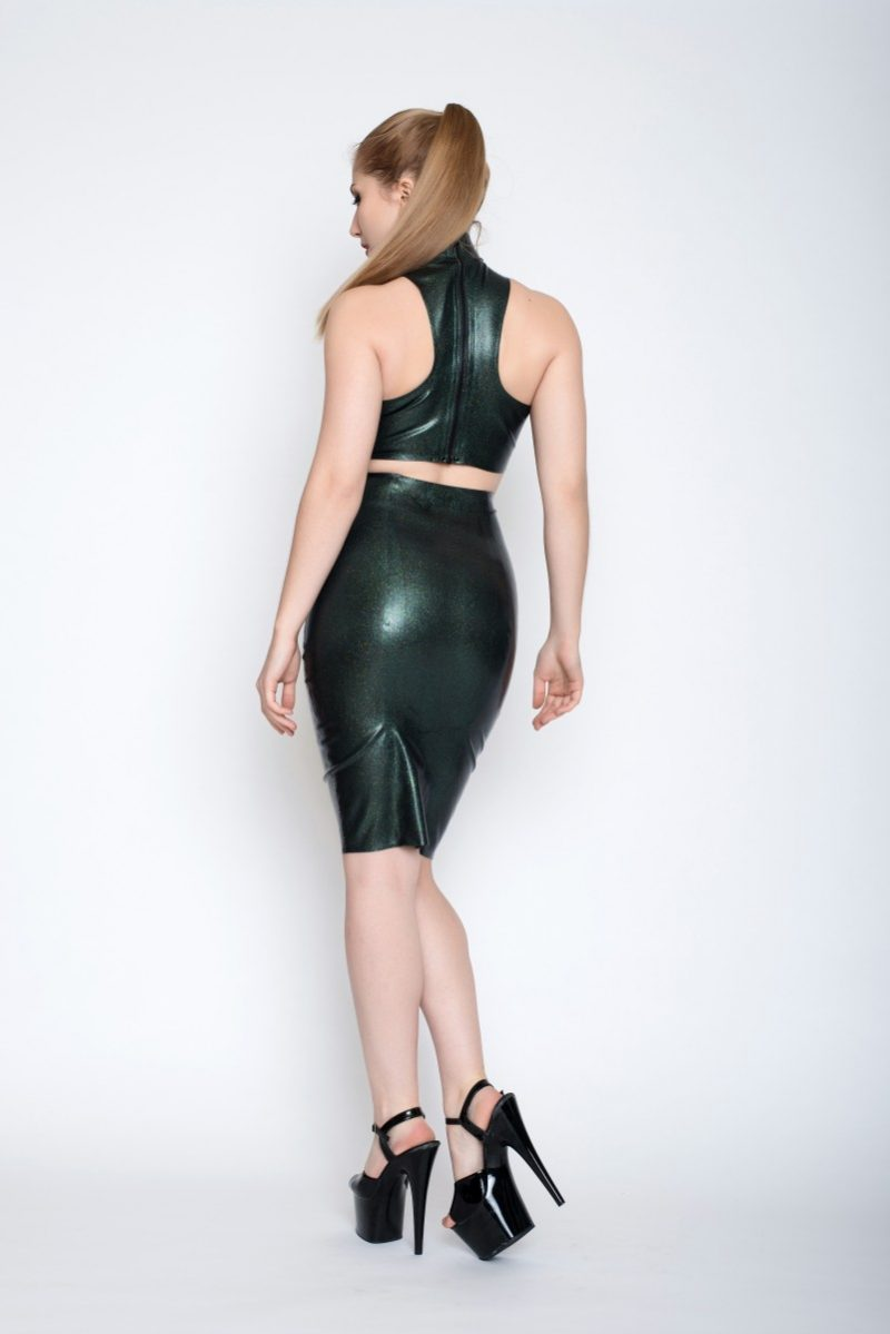 Yummy Gummy Iridescent Obsidian in High neck top and Pencil Skirt