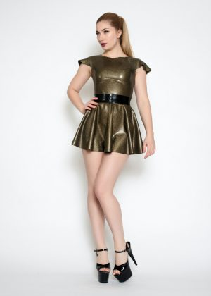 Yummy Gold Obsidian in Cap Sleeve Top, bow belt and Circle Skirt