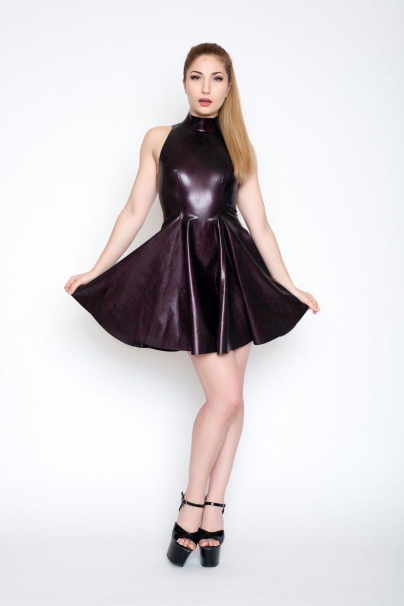 Yummy gummy Hot Pink Obsidian High neck Open Back Skate Dress