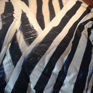 Black and white Vertical stripe latex