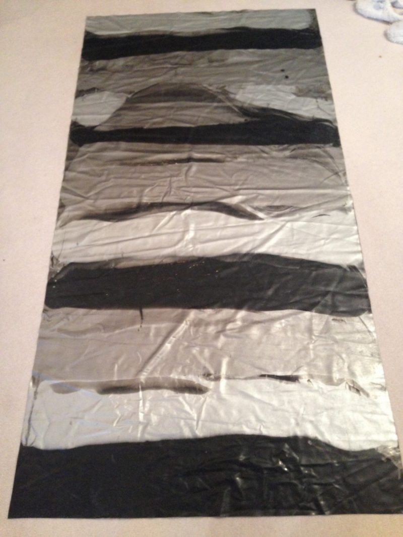 Silver, pewter and black horizontal stripe marble