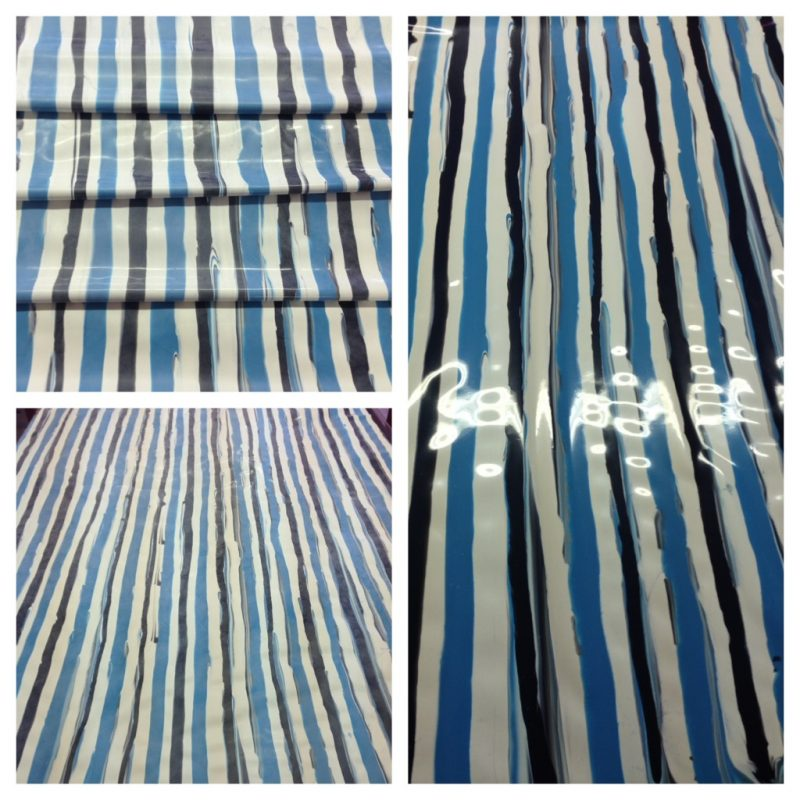 Black, White and blue vertical detailed stripe latex