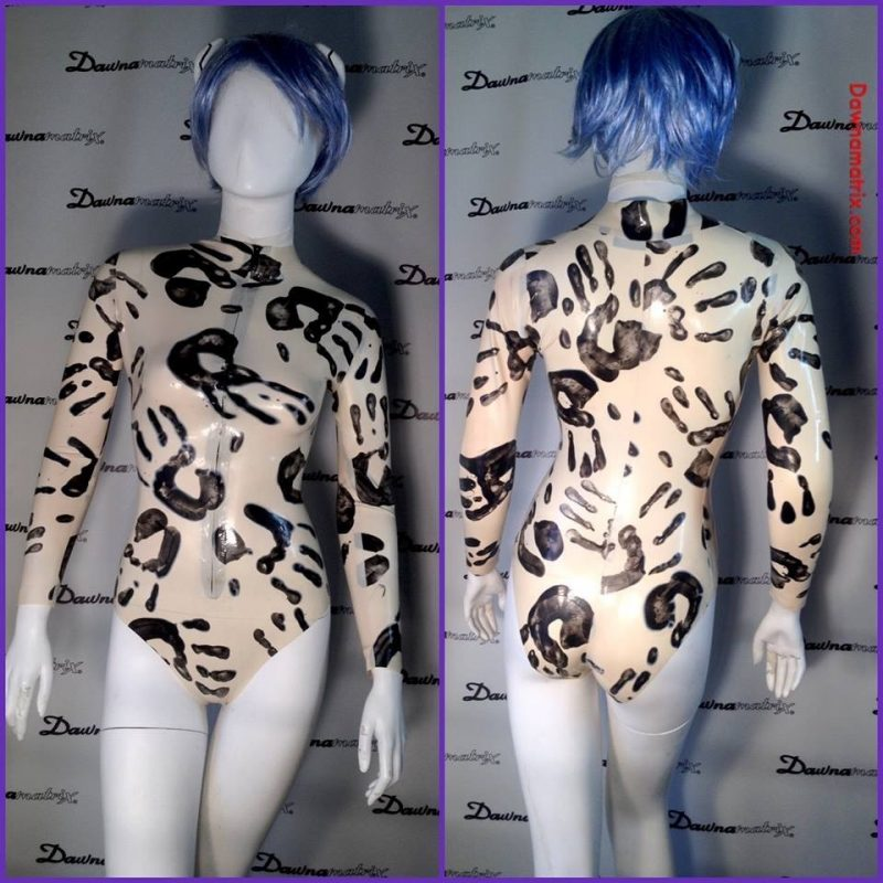 Black on white hand print latex. Body Suit by Dawnamatrix