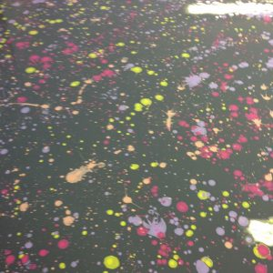 Yummy Gummy Latex Splatter Latex, Orange, Yellow, Purple and cerise splatters on black