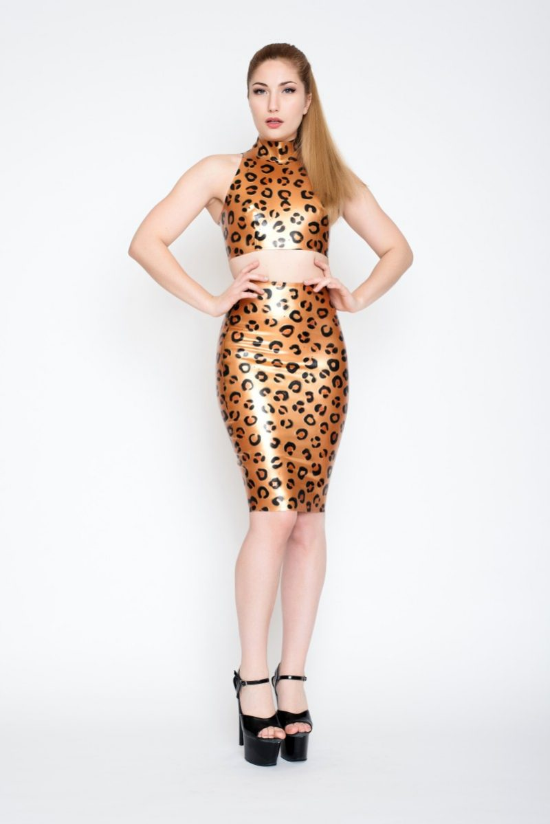 Yummy gummy latex gold deluxe leopard high neck crop top and pencil skirt