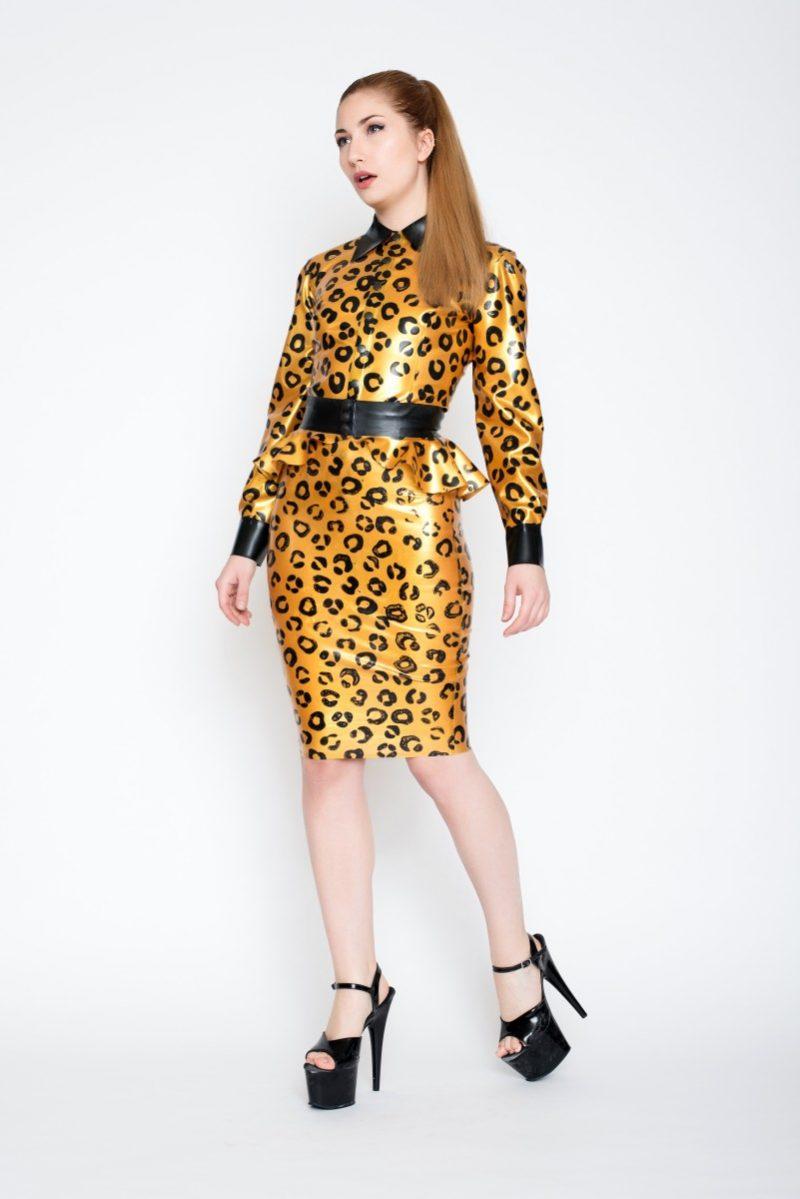 Yummy gummy latex sunshine gold leopard latex long sleeve blouse, pencil skirt and peplum belt