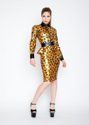 Yummy gummy latex sunshine gold leopard latex long sleeve blouse, pencil skirt and peplum belt