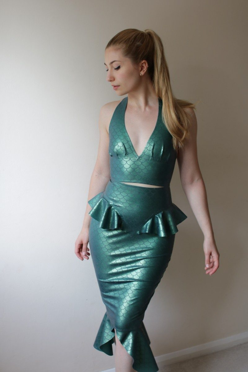 Yummy Gummy Latex Mermaid Pencil Skirt and pleated halter top in etched mermaid
