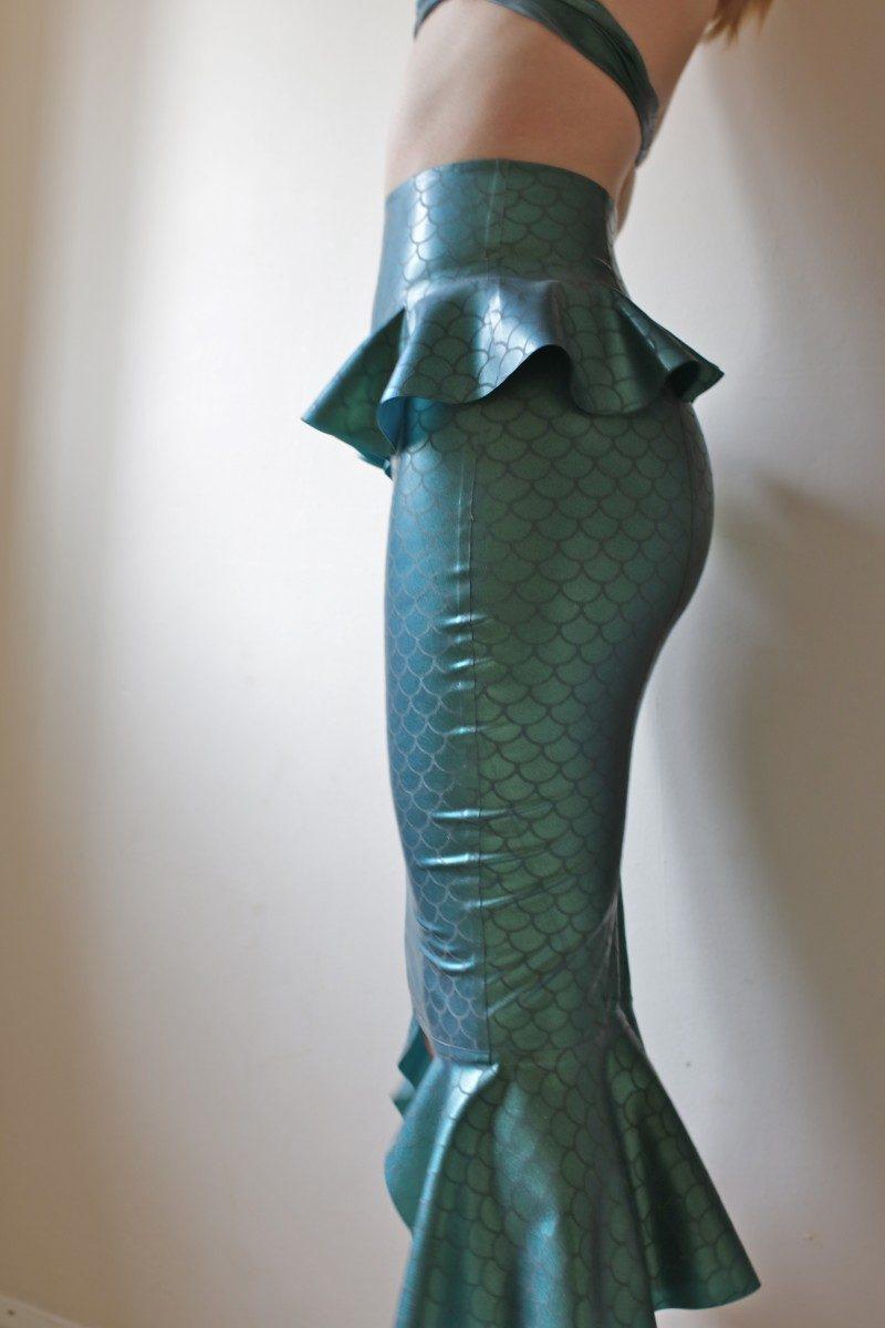 Yummy Gummy Latex Mermaid Pencil Skirt in etched mermaid