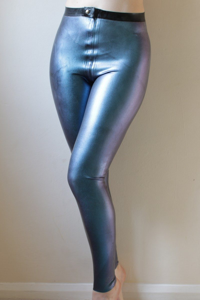Yummy Gummy Latex zip though leggings in dark blue one colour change latex