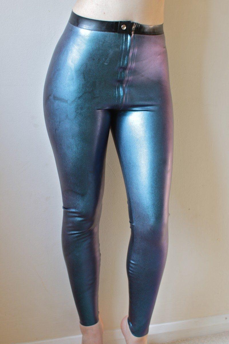 Yummy Gummy Latex zip though leggings in dark blue one colour change latex