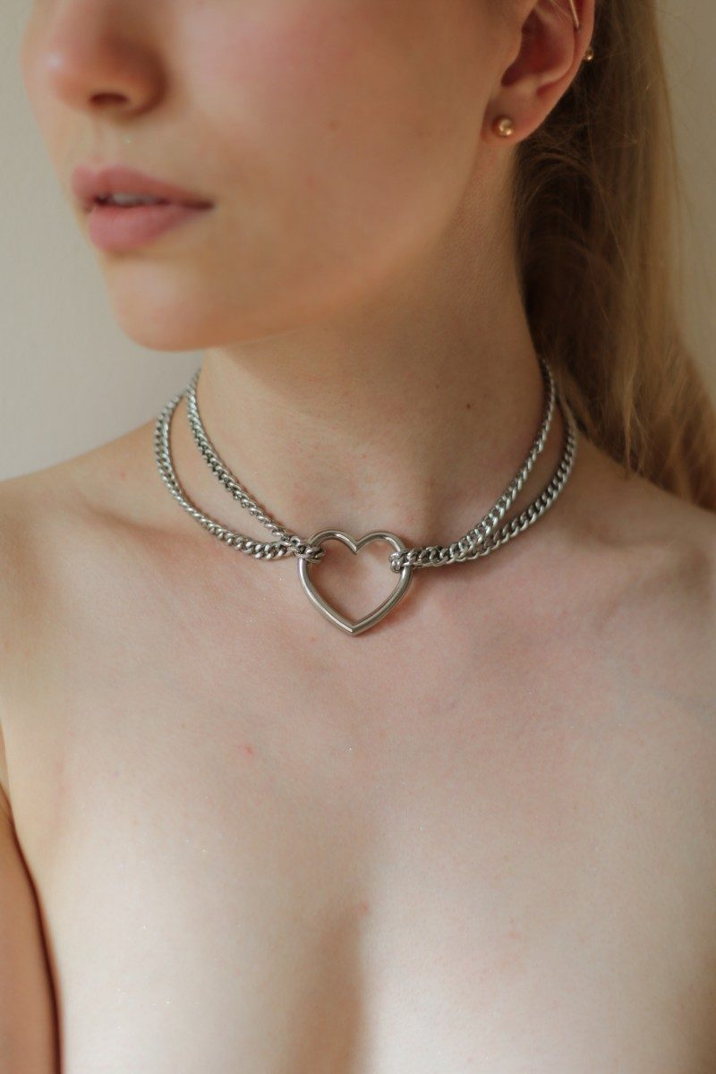 Heard ring chain collar, thick chain looped
