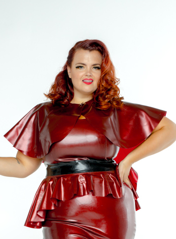 FFFB x YG Square neck cap sleeve top, long peplum belt, cape and ruffle pencil skirt in blood red with blush