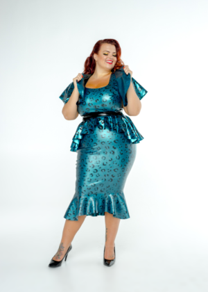 FFFB x YG Square neck cap sleeve top, long peplum belt, cape and ruffle pencil skirt in teal leopard