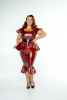 FFFB x YG Square neck cap sleeve top, long peplum belt and ruffle pencil skirt in blood red with blush