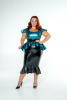 FFFB x YG Square neck cap sleeve top, long peplum belt in teal leopard and ruffle pencil skirt in black with zip