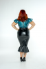 FFFB x YG Square neck cap sleeve top in teal leopard and ruffle pencil skirt in black with zip