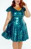 FFFB x YG Cap sleeve skate dress in teal leopard