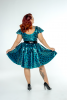 FFFB x YG Cap sleeve skate dress and long peplum belt in teal leopard