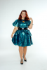 FFFB x YG Cap sleeve skate dress, long peplum belt and cape in teal leopard