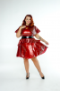 FFFB x YG Cap sleeve skate dress, long peplum belt and cape in blood red with blush